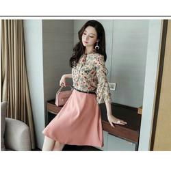 Sét Áo hoa và chân váy hồng