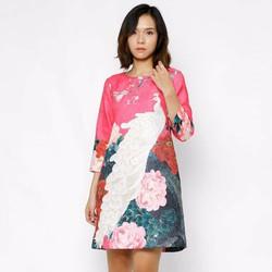 Đầm suông gấm thiết kế tay lỡ
