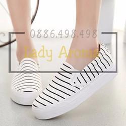 Giày nữ họa tiết kẻ sọc phong cách Hàn Lady-G1055