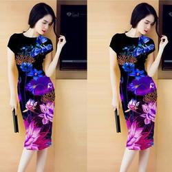 Đầm ôm in hoa 3D cao cấp