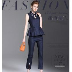 HÀNG CAO CẤP - Sét jean áo kiểu + quần sang trọng - 17157-H520