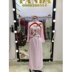 áo dài hồng gấm thêu chim lá hoa sang trọng 4 tà truoc sau