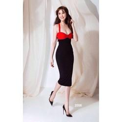 Đầm hai dây đỏ phối đen sexy 2006
