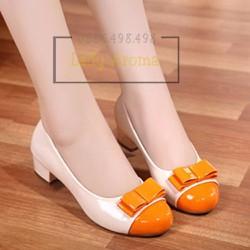 Giày cao gót vuông mũi tròn nơ 2 tầng cao cấp Lady-G107
