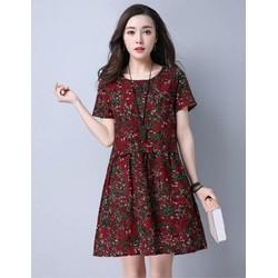 Đầm suông rộng họa tiết hoa lá nền đỏ đô - NR184