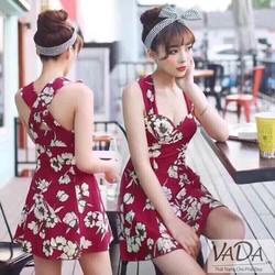 Đầm xoè hoa 2 dây chéo lưng siêu