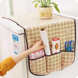 Miếng phủ tủ lạnh sọc ô vuông có túi