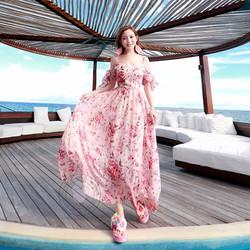 Đầm Voan Hoa Maxi Đi Biển 650