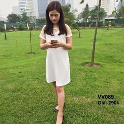 Đầm bầu phối ren trắng tinh khôi thoáng mát VV089