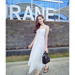 Đầm maxi trắng hai dây