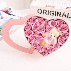 Hoa hồng sáp thơm có gấu, quà tặng tình yêu
