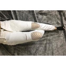 quần baggy trắng rách phối lưới