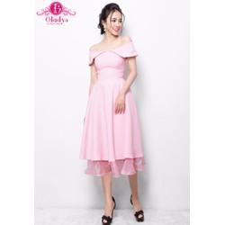 Gladys - Đầm thiết kế dự tiệc xòe bẹt vai hồng