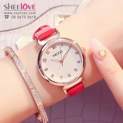 Đồng hồ nữ dây da mặt tròn kezzi chính hãng thời trang WH-K1420