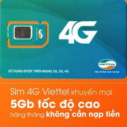 Sim 4G Viettel miễn phí data trong vòng 1 năm