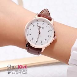 Đồng hồ nữ dây da mặt số kezzi chính hãng thời trang cá tính WH-K1388