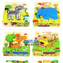 Bộ tranh xếp hình lập phương  gỗ chủ đề động vật rừng