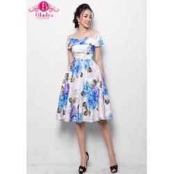 Gladys - Đầm thiết kế dự tiệc xòe bẹt vai hoa