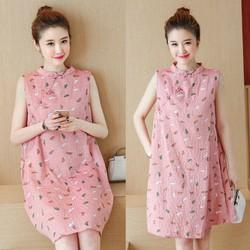 Đầm suông cổ tàu họa tiết hoa nhí xinh xắn - hàng nhập Quảng Châu