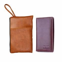 Bộ đôi túi đựng tài liệu A2 nâu sữa và ví dài nâu