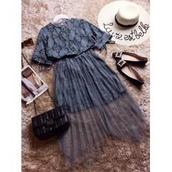 Set áo hoa kèm chân váy lưới