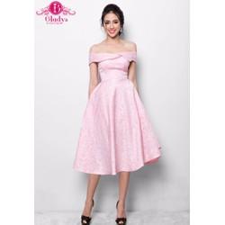 Đầm dự tiệc xòe bẹt vai hồng