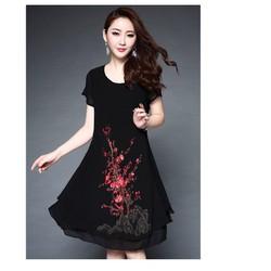 Đầm trung niên phom xoè thêu sắc sảo