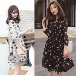 Đầm voan xòe nhún eo thời trang - M,L,XL