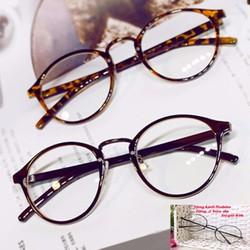 Mắt kính nhựa gọng tròn nam nữ s47 Đen Tặng kính NOBITA và 2 bao da