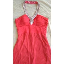 Đầm dạ hội cam cúp ngực cổ đính hạt kim sa