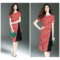 Đầm xòe phối chân váy hoa cao cấp