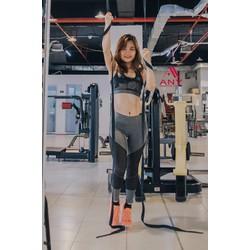 Quần legging gym dáng dài phối lưới to