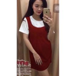 Đầm suông cotton nữ - Đỏ đô phối trắng - DU11711