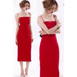 Đầm đỏ dài hai dây hở lưng 2003