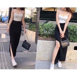 Set áo 2 dây + chân váy dài xẻ
