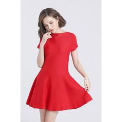 Đầm thun đỏ xòe trơn tay cách điệu công sở dạo phố DN7