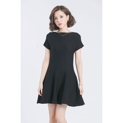 Đầm đen xòe thun công sở đơn giản DN23 S