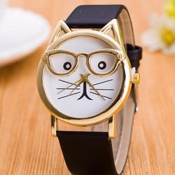 Đồng hồ nữ giá rẻ hình mèo dây da đen và da beo dễ thương