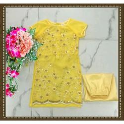 Set áo dài kim sa vàng
