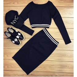 Set áo + chân váy ôm viền