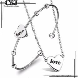 Bộ trang sức inox nữ trái tim chữ LOVE