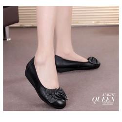 Giày da cao cấp búp bê đính nơ
