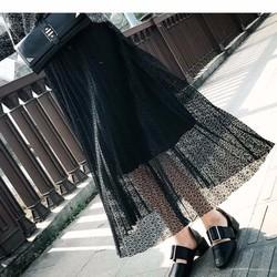 chân váy midi ren vintage Mã: VN523 - ĐEN