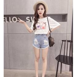 quần short jeans rách cạp cao Mã: QN741 - XANH NHẠT