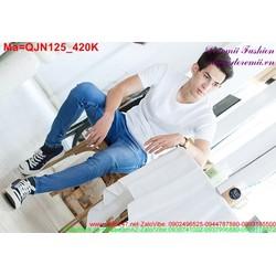 Quần jean nam màu xanh xước nhẹ QJN125