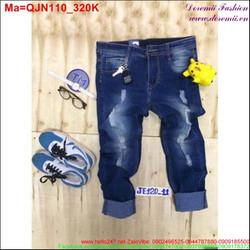 Quần jean nam wash rách phong cách bụi bặm QJN110