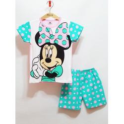Bộ thun cotton lạnh cao cấp bé gái in Mickey dễ thương size đại