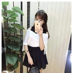 SALE KHỦNG-SÉT ÁO TRỄ VAI CHÂN VÁY XÒE HÓT