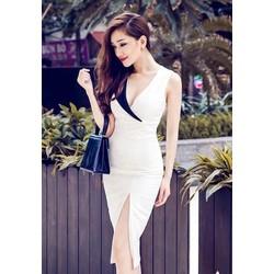 Đầm đi tiệc trắng xẻ tà đẹp thiết kế ôm sát body sexy