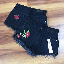 quần short jean thêu hoa